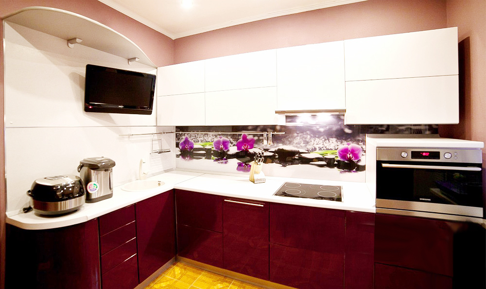Кухни баклажан с белым фото